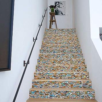 Sencillo Vida 3D Pegatinas de Escalera Antideslizante Impermeable auto adhesivo pegatina de pared vinilo decorativo Stair Sticker Steps Sticker Ceramic Tiles Patterns, 6Pcs/Set (B): Amazon.es: Bricolaje y herramientas