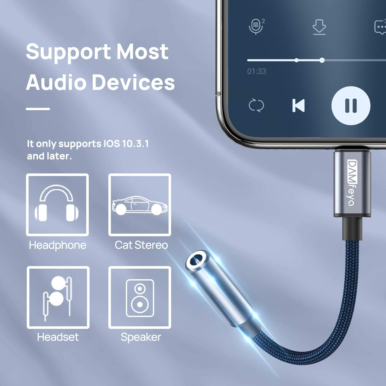 Lightning auf Klinke Audio Adapter f/ür iPhone 12//12 Pro//11//11 Pro//11 Pro Max//XXR//XS//XS Max//8//8Plus//7 //7 Plus-Grau Lightning auf 3,5 mm Kopfh/örer Adapter Apple MFI Zertifizierung Aux Adapter