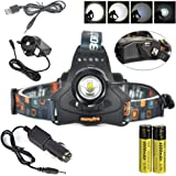 BORUIT RJ-2157 3000 Lumens Headlight Headlamp with USB Output Flashlight Torch CREE XM-L2 3 T6 LED with Rechargeable Batteries & Wall Charger for Hiking Camping Riding Fishing Running Hunting