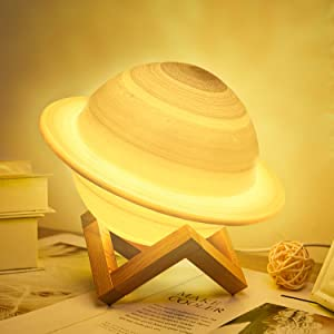 UooEA Saturn Lamp, 16 Colors LED 3D Print Decor Star Lamp, USB Rechargeable Remote & Touch Control, with Wood Stand & Hanging Net, Nursery Night Light for Kids Baby Friend Lover Birthday Room Decor