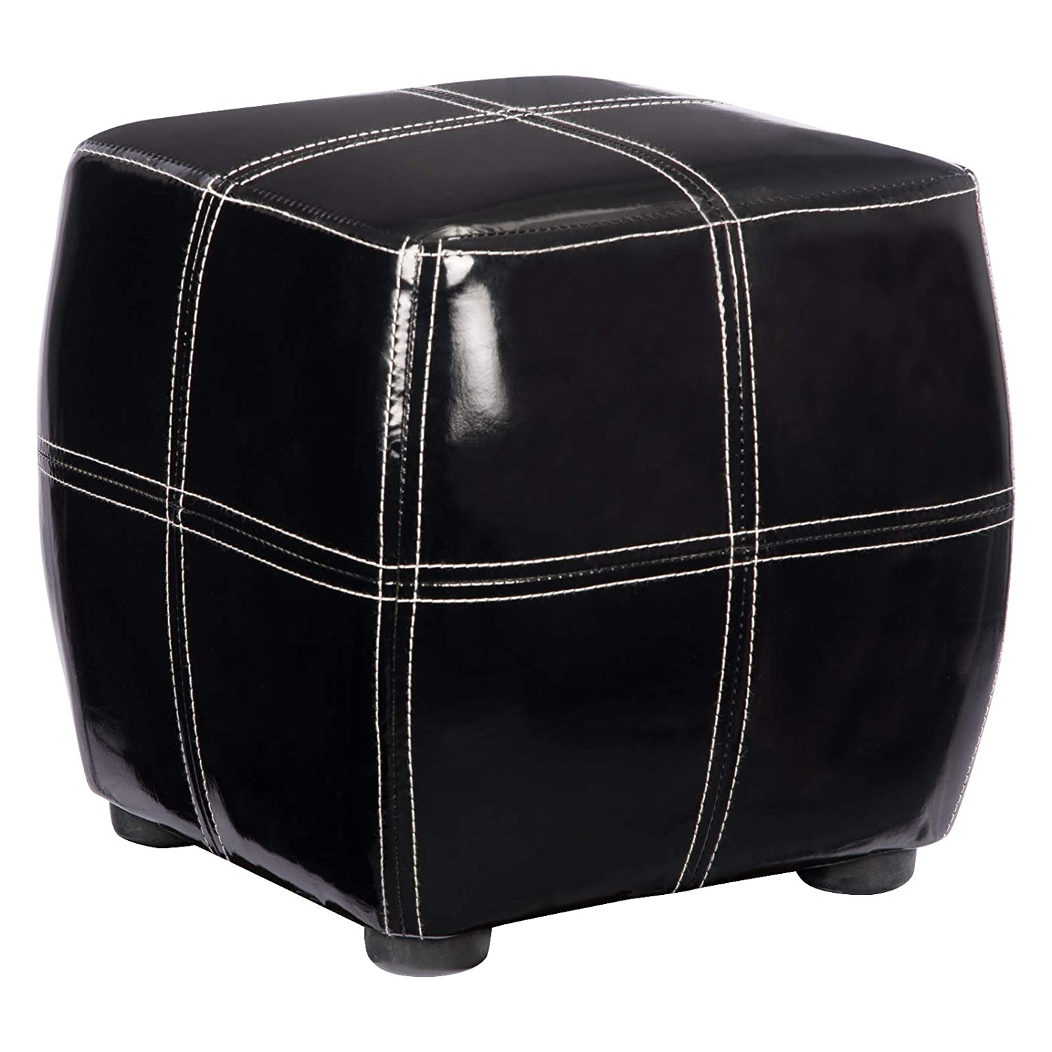 Phenomenal Details About New Black Gloss Faux Patent Leather Upholstered Square Ottoman Pouffe Foot Stool Forskolin Free Trial Chair Design Images Forskolin Free Trialorg