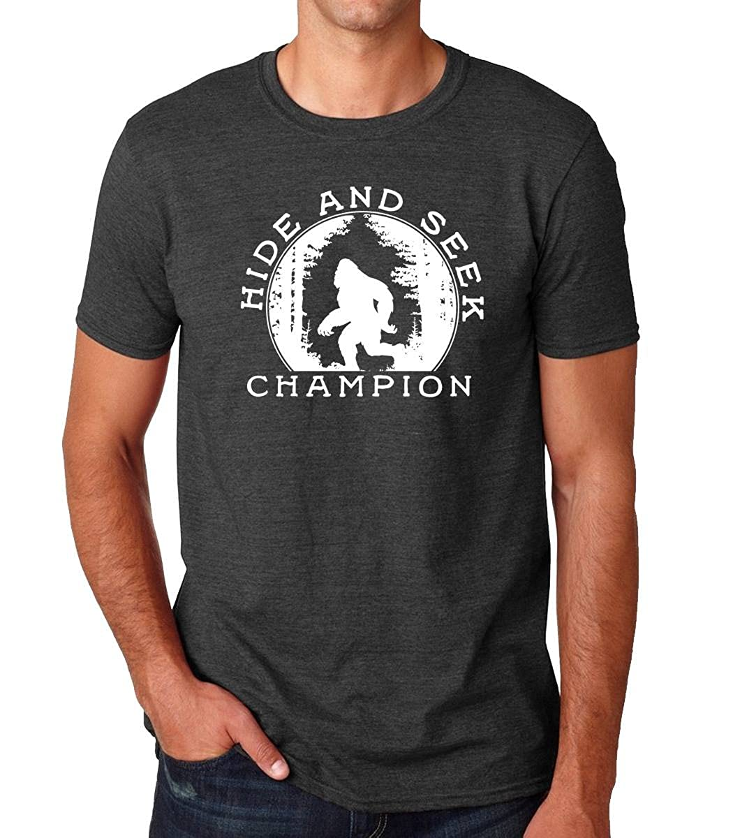 f5deff62 Sasquatch Big Foot Hide and Seek Champion Print T-Shirt GrayFAST at Amazon  Men's Clothing store: