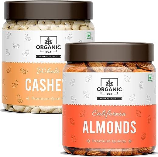 Organic Box Cashew + Almonds Dry Fruits Combo Pack of ( 250 gram Badam + 250 Gram Kaju) Value Jar Pack – Perfect Healthy Morning Snacks and Good…