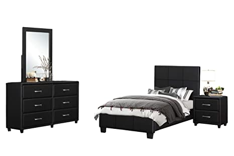 Amazon.com: Langtry 4PC Youth Bedroom Set Full Platform Bed ...