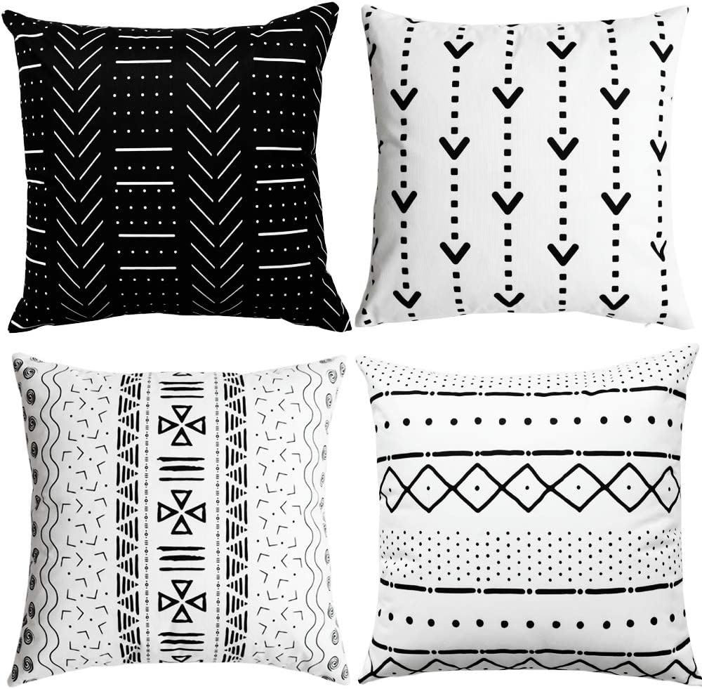 WLNUI Set of 4 Black Decorative Pillow Covers 18x18 Inch Boho Modern Throw Pillow Covers Geometric Mudcloth Linen Neutral Square Cushion Case for Sofa Couch Chair Farmhouse Decor