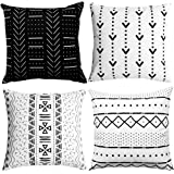 WLNUI Set of 4 Black Decorative Pillow Covers 20x20 Inch Boho Modern Throw Pillow Covers Geometric Mudcloth Linen…