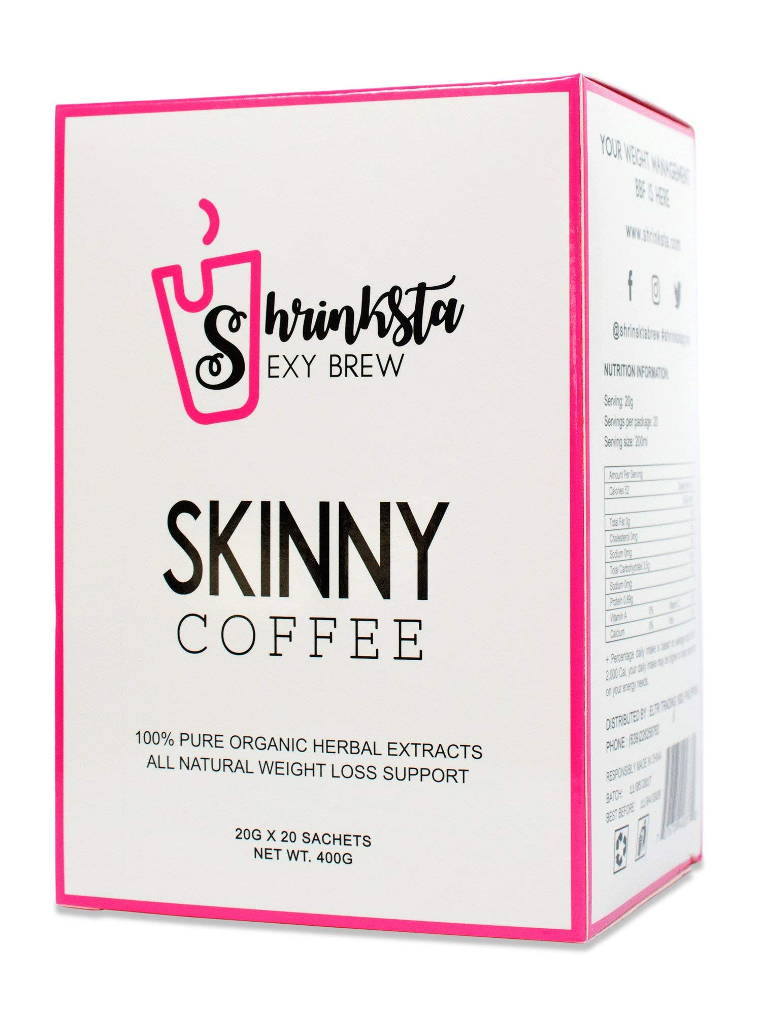 Shrinksta Organic Slimming Weightloss Coffee - All Natural, Vegan Latte, Sugar Free | Perfect On-The-Go Support For The Busy, Health-Conscious | 20 Packets a Box, 3 Flavors Available by Shrinksta