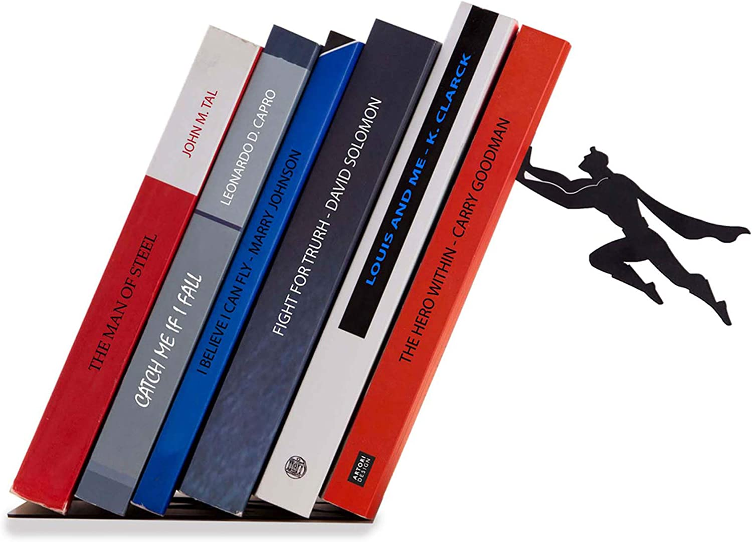 Artori Design Decorative Bookends for Shelf or Desk - Black Metal Book Ends - Superhero Bookend - Book Ends for Office - Cool Super Hero Book Stopper/Book Holder/Shelf Dividers - Book & Hero