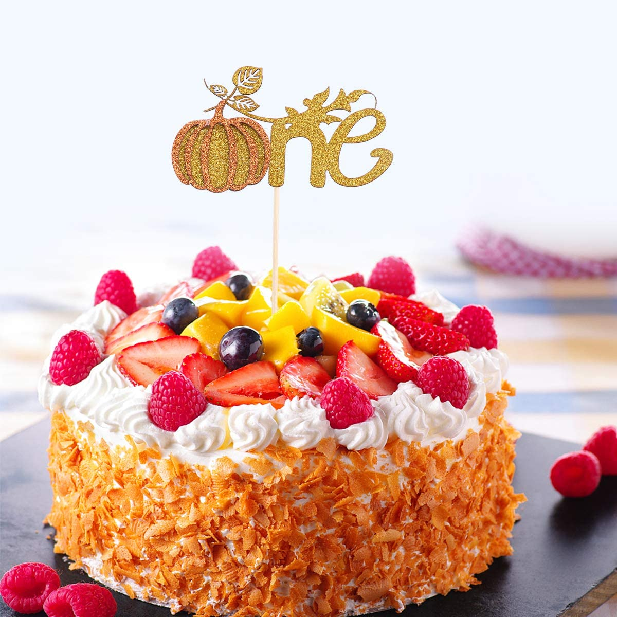 Surprising Bestonzon 5Pcs One Cake Toppers Pumpkin Cake Toppers Creative Funny Birthday Cards Online Alyptdamsfinfo