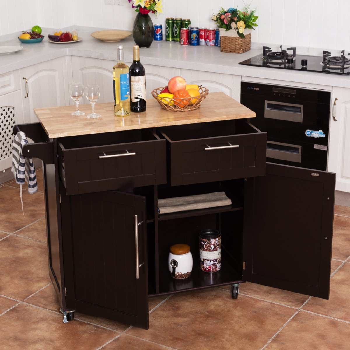 Giantex Kitchen Island Cart Rolling Storage Trolley Cart Home and Restaurant Serving Utility Cart with Drawers,Cabinet, Towel Rack and Wood Top by Giantex (Image #3)