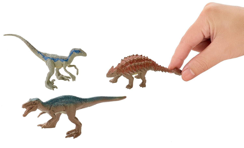 3 Pack Metallic Blue Figures Jurassic World Mini Dino Baryonyx Ankylosaurus