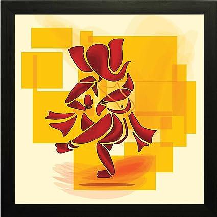 Printelligent Dancing Ganesha Wall Painting Frame 10 Inch X 10 Inch