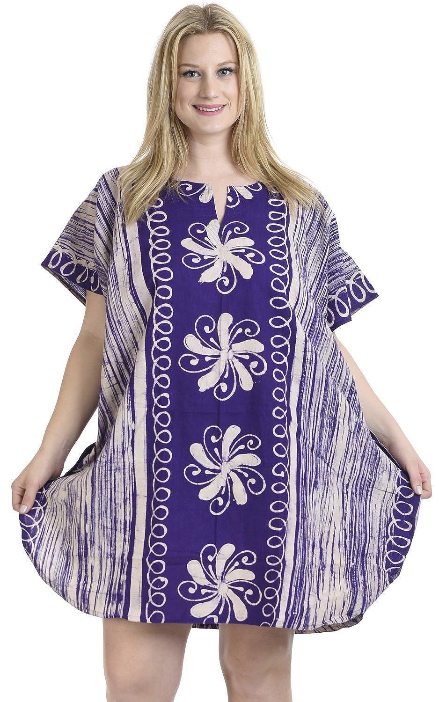 La Leela algodón hecho a mano puro del batik túnica superior vestido ...