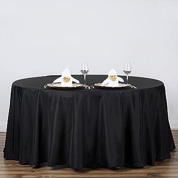 Efavormart Black 120u0026quot; Round Polyester Tablecloth