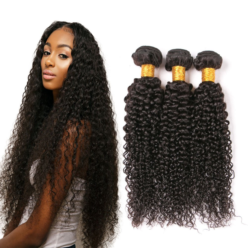 Jerry Curl Weave Human Hair Brazilian 3 Bundles Of 20 22 24 Inches
