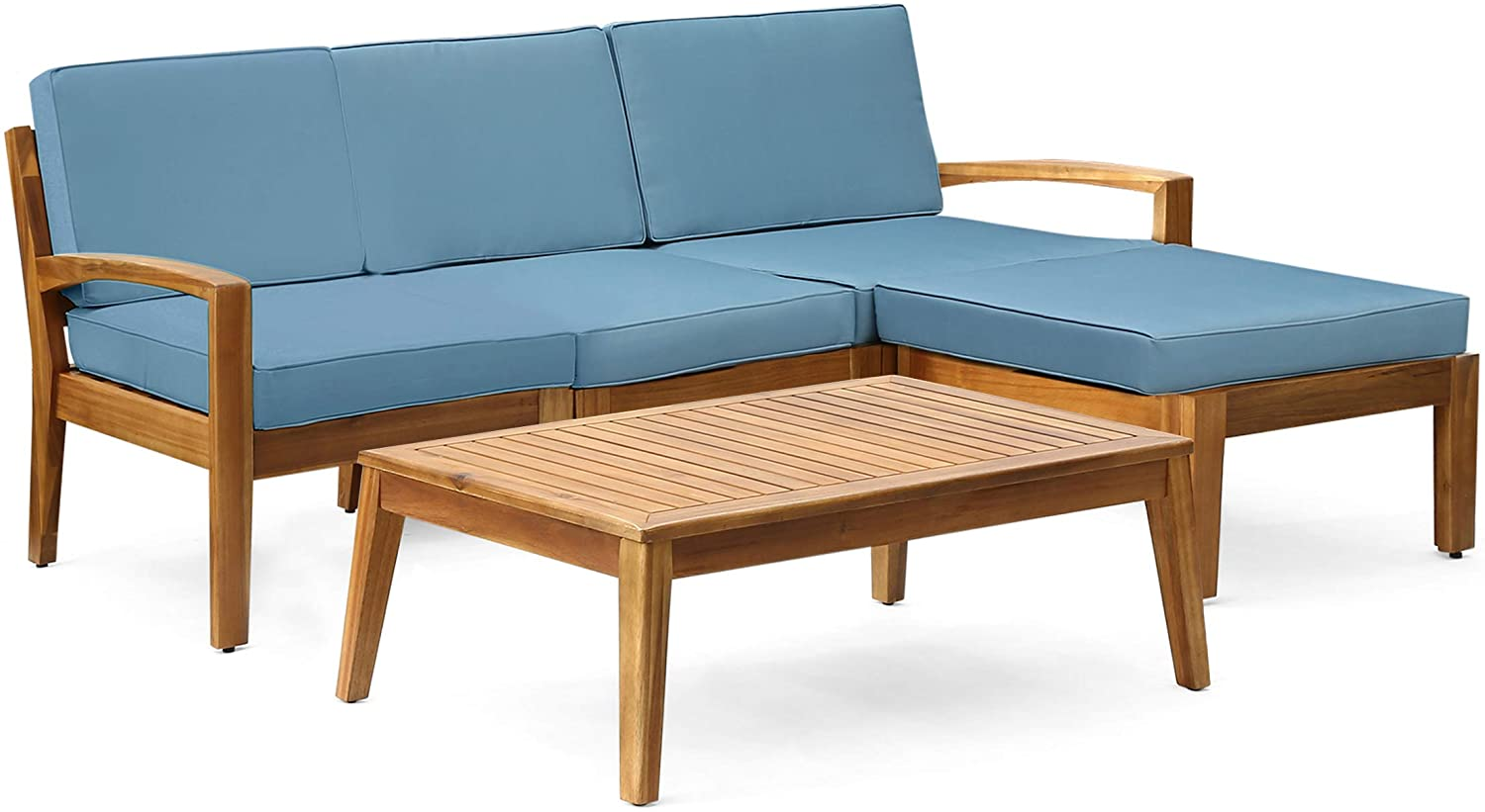 Grenada Sectional Sofa Set   5-Piece 3-Seater   Includes Coffee Table and Ottoman   Acacia Wood Frame   Water-Resistant Cushions   Teak and Blue
