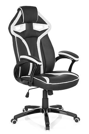 hjh OFFICE 722250 Silla Gaming Guardian Piel sintética Negro/Blanco Silla de Escritorio: Amazon.es: Hogar