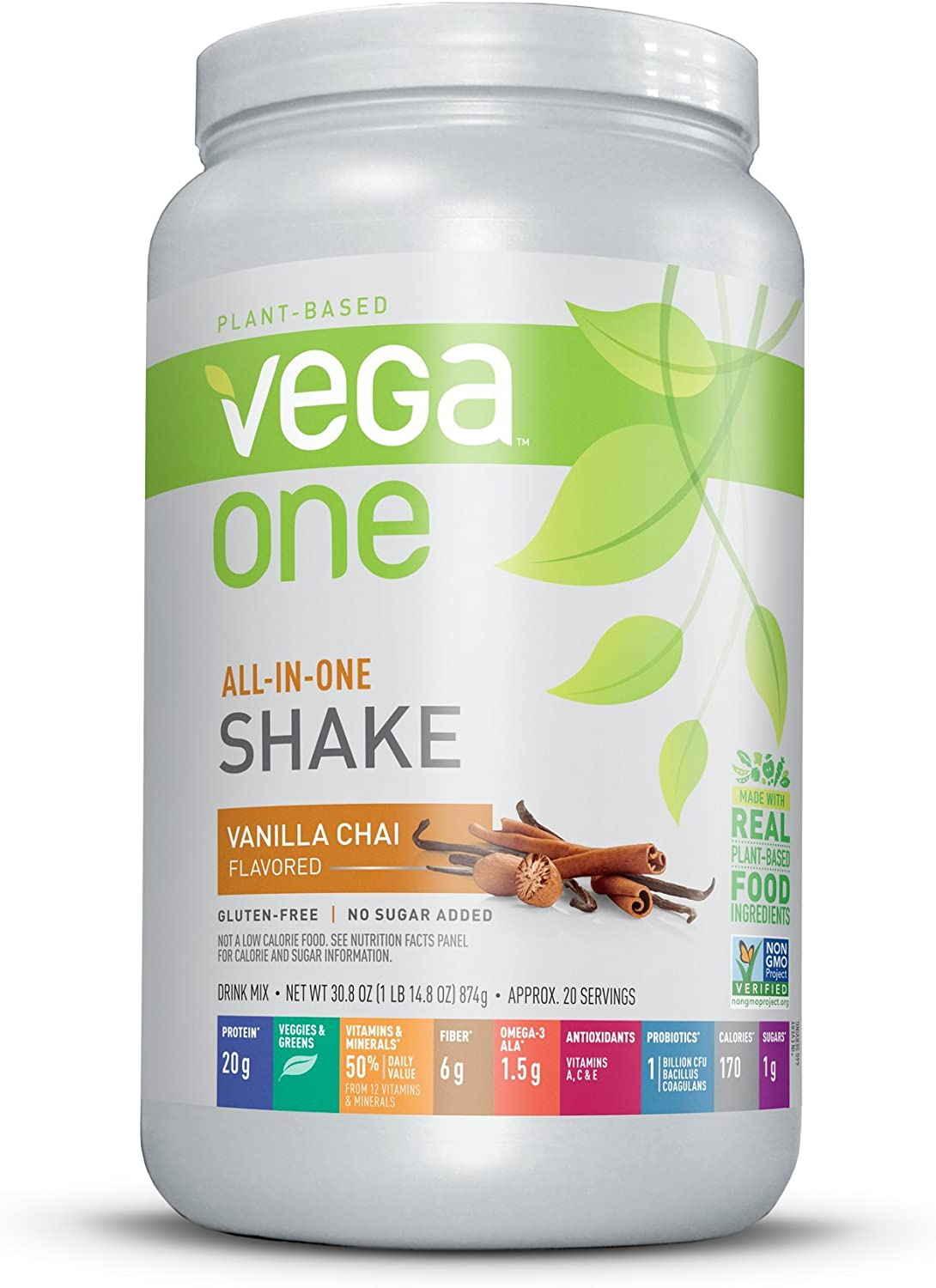 Vega One All-in-One Nutritional Shake Vanilla Chai (Tub, 30.8oz) - Plant Based Vegan Protein Powder, Non Dairy, Gluten Free, Non GMO