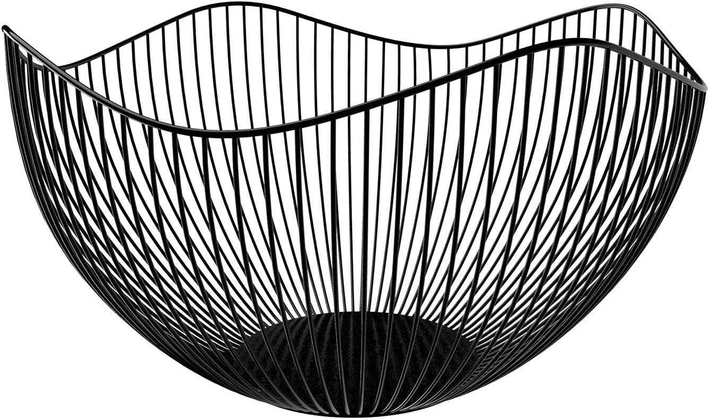 DMAR Frutero de metal, cesta de alambre para frutas, soporte de frutas de hierro negro, soporte decorativo para frutas, almacenamiento para verduras y pan