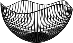DMAR Fruit Bowl Wave Fruit Basket Metal Wire Vegetable Bowl Creative Fruit Dish for Table Centerpiece for Living Room, Kitchen, Pantry, Office (Black)