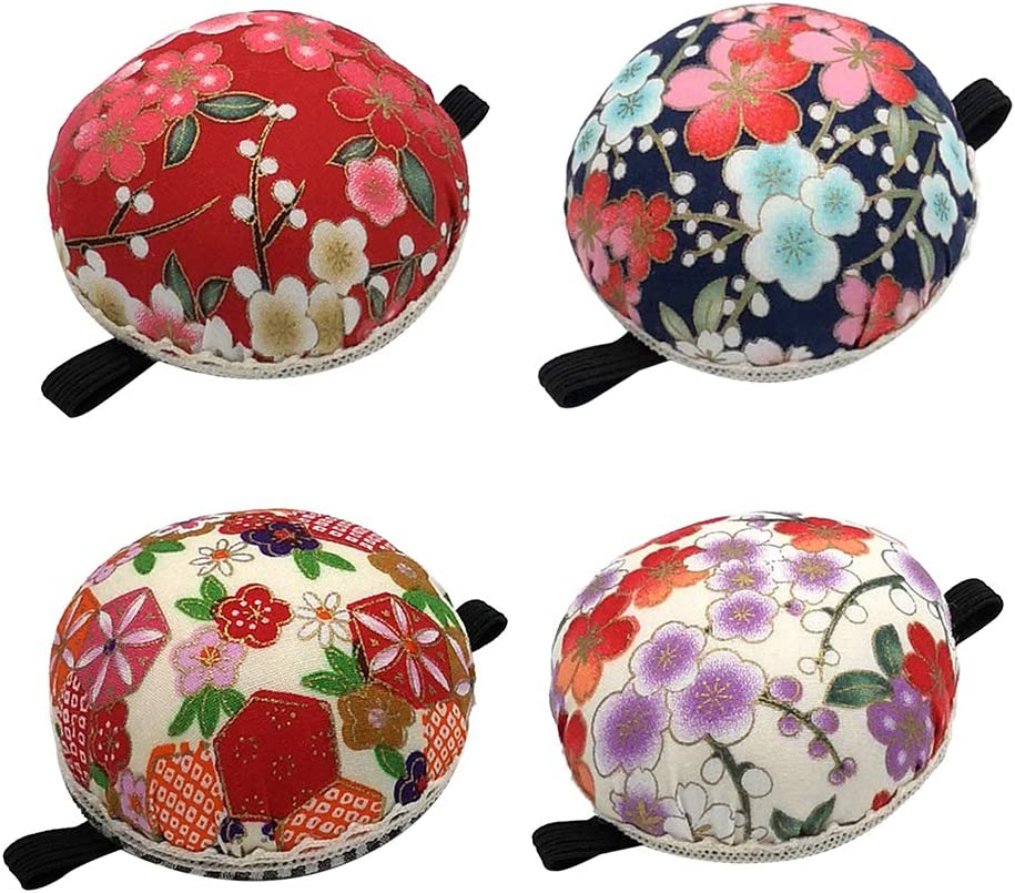 Round Shaped Pin Cushion Printed Fabric Pincushions Beige 2 Baoblaze Vintage Pin Cushion for Sewing Quilting Sewing Needles Cushion with Elastic Wrist Belt