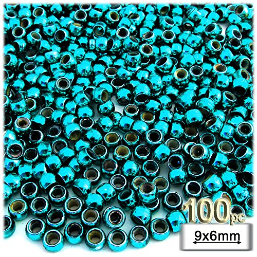 (100pc Plastic Round Metallic Pony Beads 9x6mm Aqua Blue Beads)
