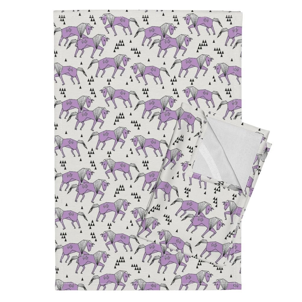 Roostery Purple Pastel Girly Girls Baby Crib Tea Towels Horses Geometric Animal Horse by Andrea Lauren Set of 2 Linen Cotton Tea Towels