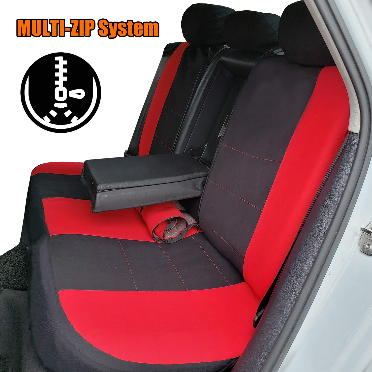 Quick Install Seat Airbag /& Split Ready SUV Full Set Seat Covers of 5 Detachable Headrests and Solid Bench Universal Auto Seat Protector Fit Most Car or Van Truck Full Coverage Car Seat Covers