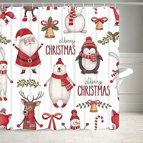 Merry Christmas Cartoon Penguin Santa Fabric Shower Curtain Set Bathroom Decor