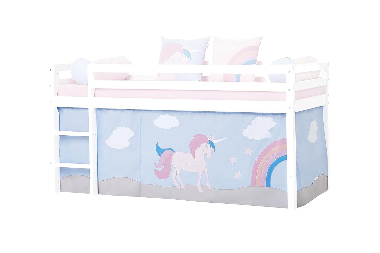Hoppekids für Halfhigh Play Kabine Bett, Mid Sleeper, Baumwolle, Pink Blau, 200 x 90 x 72 cm