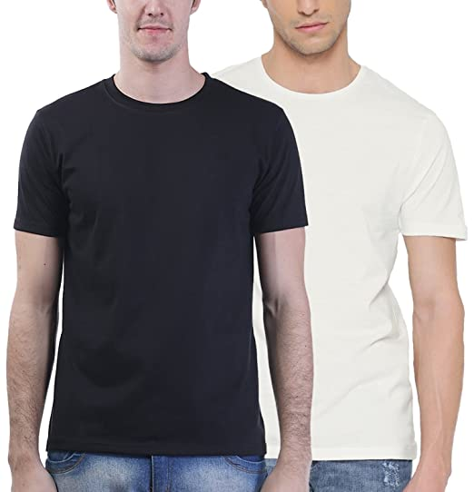 e355a7626 First Row Men's Cotton Round Neck Half Sleeve Solid Set of 2 Tshirts ...