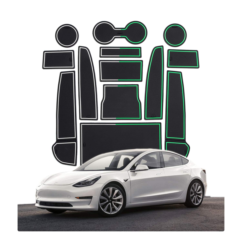 Blanco CDEFG para Tesla Model 3 Coche Accesorios Antideslizante Copa Mats Anti Slip Puerta Ranura de Acceso Kit de la Estera del coj/ín de la Ranura decoraci/ón de Interiores