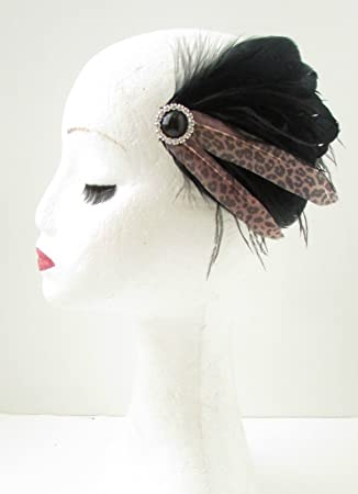 fe58c5ef4ebd7 Black Leopard Print Feather Fascinator Hair Clip Rockabilly 1950s Ascot 40s  B57  EXCLUSIVELY SOLD BY