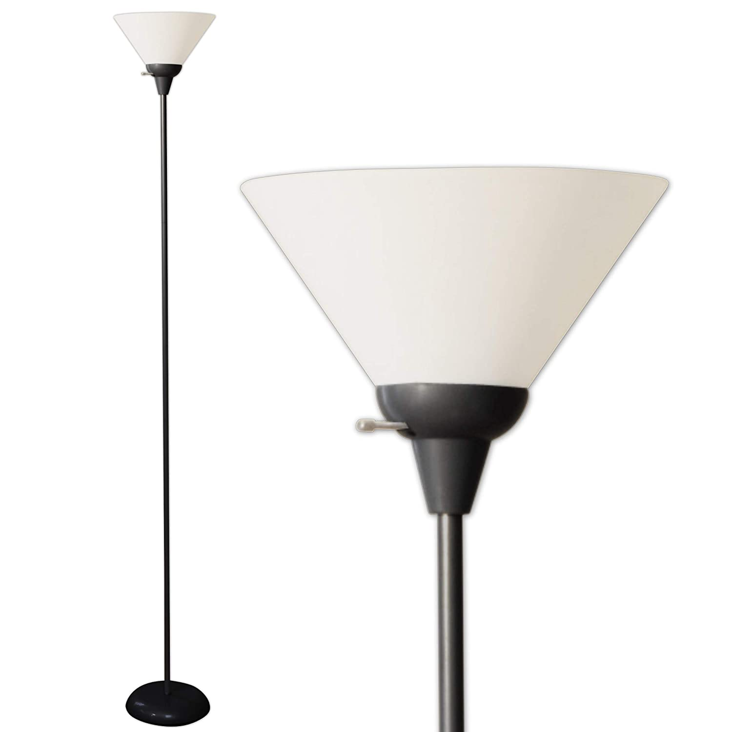Light Accents Mary Floor Lamp for Living Rooms - Standing Pole Light - Torch Lamps Bright Reading Light with White Shade - Black