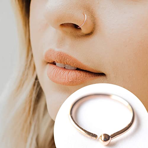 Amazon Com 14k Rose Gold Filled Adjustable Metal Hoop Nose Ring 22 Gauge 7 8 Mm Handmade