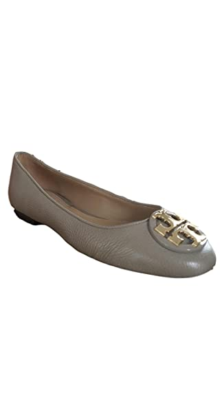 Tory Burch Claire Ballet Flat, Tumbled Leather, French Gray/Gold (5.5 M
