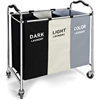 240L Laundry Hamper Sorter Basket 3 section Organizer for Dirty Clothes,16 X 30 X 35 inch Heavy Duty Rolling Wheels with…
