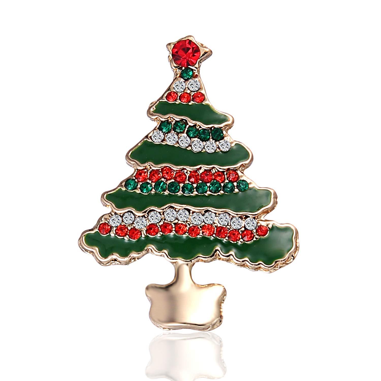 Amazon.com: JEWE Christmas Tree Brooch Pins Diamond-Bordered Brooch Xmas  Pin Christmas Ornaments Crystal Rhinestone Pin Badge Brooches (Multicolor):  Jewelry