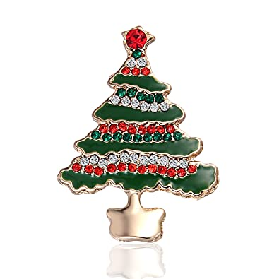 b40ac538e96 Amazon.com: JEWE Christmas Tree Brooch Pins Diamond-Bordered Brooch Xmas  Pin Christmas Ornaments Crystal Rhinestone Pin Badge Brooches (Multicolor):  Jewelry