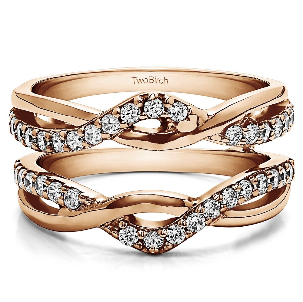 Criss Cross Infinity Ring Guard Enhancer with 0.2 carats of Charles Colvard Created Moissanite in Rose Gold Plated Sterling Silver