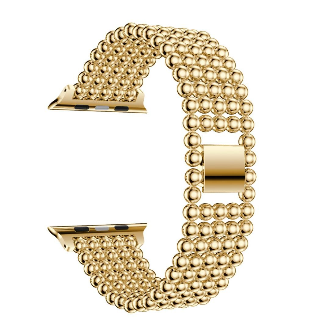 ジュエリーBand for Apple Watch、sukeq Luxuryステンレススチール交換用時計バンドジュエリー人工パールのストラップブレスレットApple Watchシリーズ1 / 2 38 mm  ゴールド B079HTLPP1