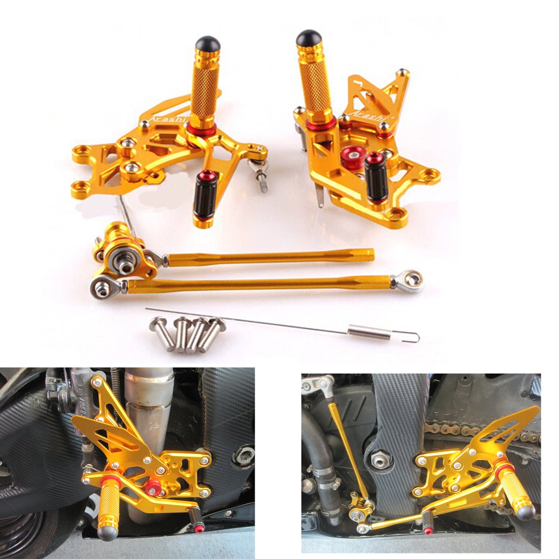 2007-2012 Honda CBR 600RR Adjustable Rearsets Gold CNC For Honda CBR 600RR Foot Pegs Rear Sets 07-12 Issyzone