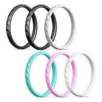 Egnaro Silicone Wedding Ring Women,Silicone Wedding Ring Thin-Silicone Stackable Rings, Wedding Bands-Stylish Pattern -Comfortable fit&Skin Safe