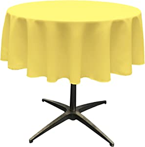 LA Linen Polyester Poplin Tablecloth 51-Inch Round, Light Yellow