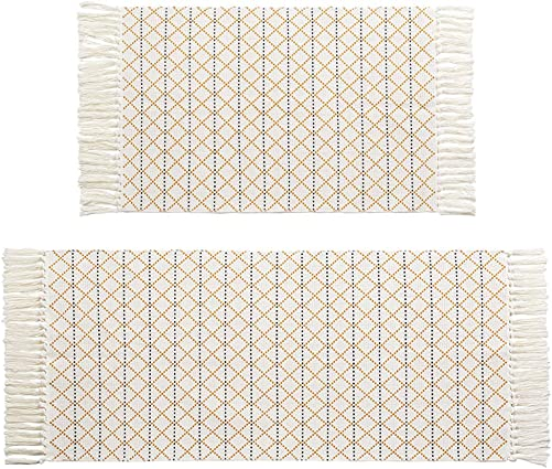 Boho Moroccan Tassel Bathroom Rug Runner Set Yellow White Woven Bath Mat Kitchen Rug 2 Piece 4.2'x2' 3'x2'