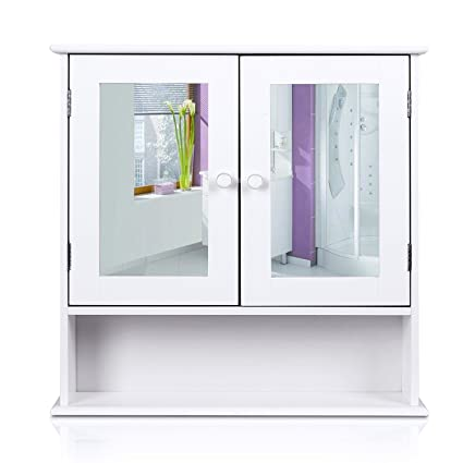 HOMFA Bathroom Wall Cabinet Multipurpose Kitchen Medicine Storage Organizer  With Mirror Double Doors Shelves,White