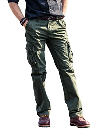 56e89e021f9 LAYNOS Men s Cotton Cargo Pants Rugged Tactical Pants With Multi-Pockets