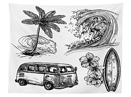vipsung Surf Decor Tablecloth Surfing Sport Surfboard Beach and Van Sketch Style Decorative Monochromic Illustration Dining