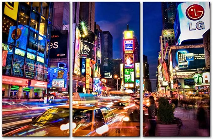 US 3X2FT New York Painting Canvas Print City Night Poster Wall Art Gift Decor
