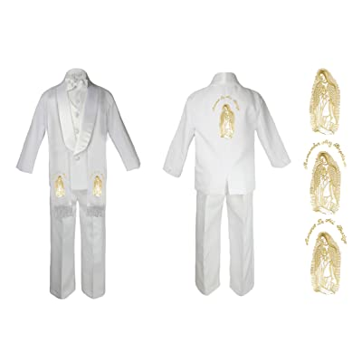 Baby Boy Christening Baptism Church White Suit Mary Maria On Stole & Back Sm-7